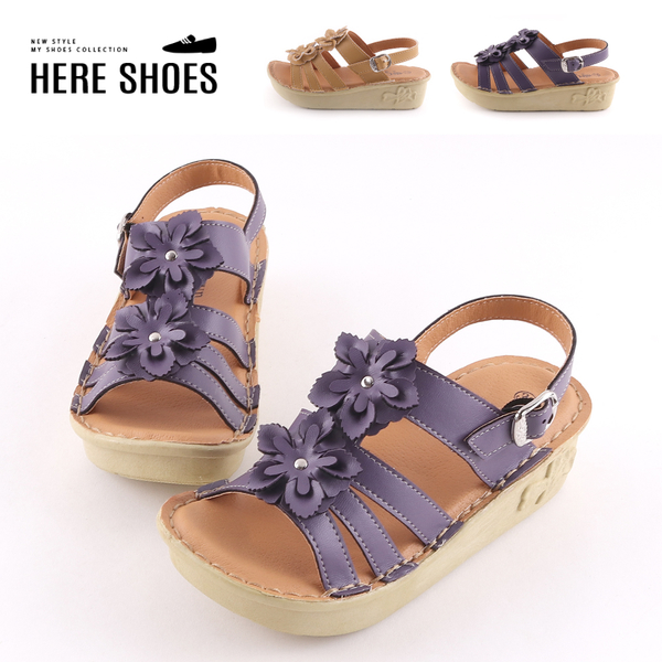 [Here Shoes]前3後5cm涼鞋 皮革立體花朵 圓頭厚底楔型 復古涼拖鞋 MIT台灣製-AN313