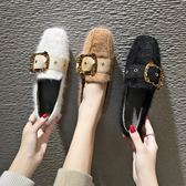 平底鞋鞋子女新款網紅女鞋秋季韓版百搭豆豆鞋女毛毛鞋平底加絨單鞋 伊莎公主