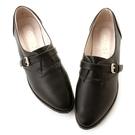 amai素面仿古皮帶扣飾紳士休閒鞋 黑