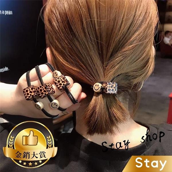 【Stay】韓版豹紋方塊笑臉髮圈 丸子頭髮圈 髮飾 束髮圈 束髮帶 綁頭髮