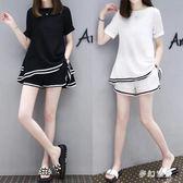 新款孕婦套裝 夏季雪紡兩件套外出韓版短褲短袖休閒套裝  yu4032『夢幻家居』