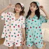 春夏女裝韓版學生可愛小清新寬鬆短袖睡衣兩件套裝 LR233【歐爸生活館】