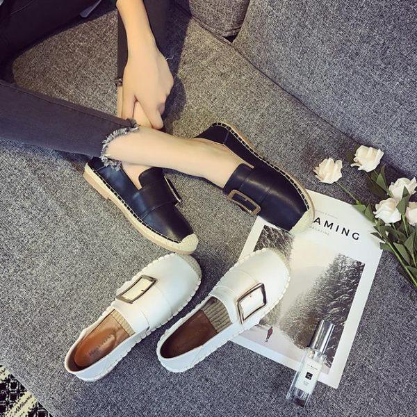 草編鞋漁夫鞋女平底單鞋2018春季新款百搭一腳蹬英倫風女鞋穆勒鞋