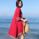 沙灘防曬衣開襟女夏季薄款海邊度假民族風中長款空調雪紡披肩外套第七公社