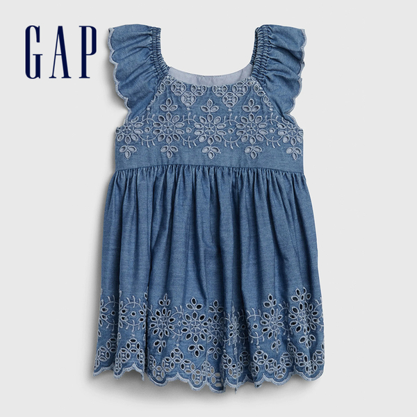 Gap 嬰兒 甜美荷葉邊飾牛仔洋裝 544258-中度水洗