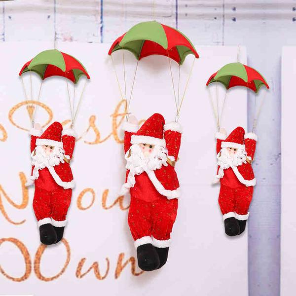 聖誕飾品 聖誕節吊頂裝飾品降落傘商場櫥窗爬繩聖誕老人禮物懸掛場景佈置