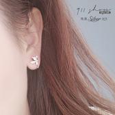 Lacuna.925純銀小妖精愛心鑽不對稱穿針式耳環【s357】911 SHOP