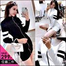 克妹Ke-Mei【ZT47143】歐美單,愛死了!激瘦修身雙槓撞色袖拉鍊外套式洋裝