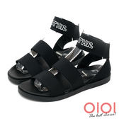 涼鞋 韓風時尚寬版鬆緊帶羅馬涼鞋(黑)*0101shoes  【18-A88bk】【現貨】