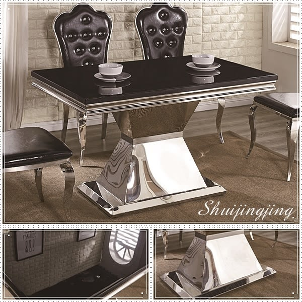 【水晶晶家具/傢俱首選】瓊恩5 尺不鏽鋼拋光腳座黑晶石面餐桌~~餐椅另購 JF8420-2