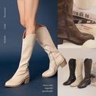 PUFII-靴子 質感皮質高筒西部靴子- 1203 現+預 冬【CP19652】