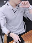 男士長袖t恤V領2018春秋季新款潮流韓版衛衣服秋衣學生打底衫上衣-Ifashion