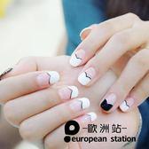 假指甲片/黑白心形法式 簡約短款【歐洲站】