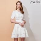OMUSES 蕾絲刺繡簍空白色短洋裝...