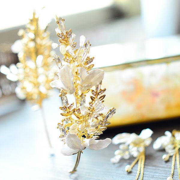 雙十二狂歡購新款韓式新娘婚禮婚紗頭飾水晶頭花皇冠發箍套裝金色敬酒服發飾【奇貨居】