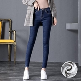【YPRA】牛仔褲女 韓版高腰彈力單寧小腳牛仔長褲