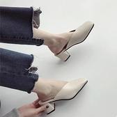 穆勒鞋方頭高跟奶奶涼拖鞋粗跟包頭半拖鞋女復古外穿穆勒鞋【少女顏究院】