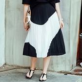 雪紡長裙-歐風黑白撞色百褶女裙子73hv35【時尚巴黎】