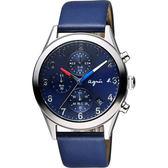 agnes b. 巴黎城市風尚計時腕錶-藍/40mm VD57-KT20U(BM3009X1)