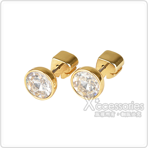 kate spade Reflecting pool系列黑桃LOGO簡約設計鑽鑲飾穿式耳環(金x白)