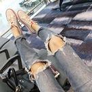《澤米》膝蓋大破洞牛仔褲 女2018新款 韓版 寬鬆 BF風 男友褲 哈倫 九分褲 刷破牛仔褲