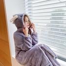 睡衣女秋冬季加厚加絨珊瑚絨可愛法蘭絨長款睡袍浴袍兩件套裝恐龍 小山好物