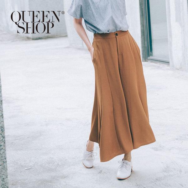 Queen Shop【04110071】傘擺設計雪紡西裝寬褲 兩色售 S/M*預購*