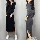 針織裙秋冬裝新款中長款時尚氣質韓版收腰針織洋裝顯瘦打底裙子女 快速出貨