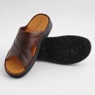 台灣製 手工縫製男用簡約拖鞋 涼鞋 咖  《Life Beauty》