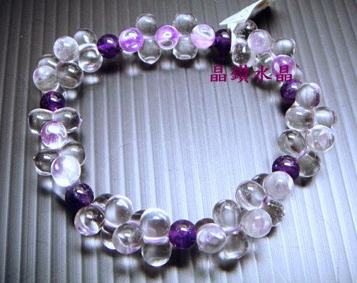 天然白水晶&紫水晶手鍊 ~8型~發發發~ 超特殊款式!