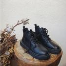 馬丁靴女英倫風小短靴百搭春秋季單靴網紅靴子黑色 - 風尚3C