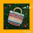 百搭可愛彩色手工串珠包童包斜跨側背包編織包小紅書草編沙灘包 黛尼時尚精品