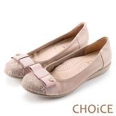 CHOiCE 舒適甜美 蝴蝶飾釦蕾絲布拼接牛皮娃娃鞋-粉紅