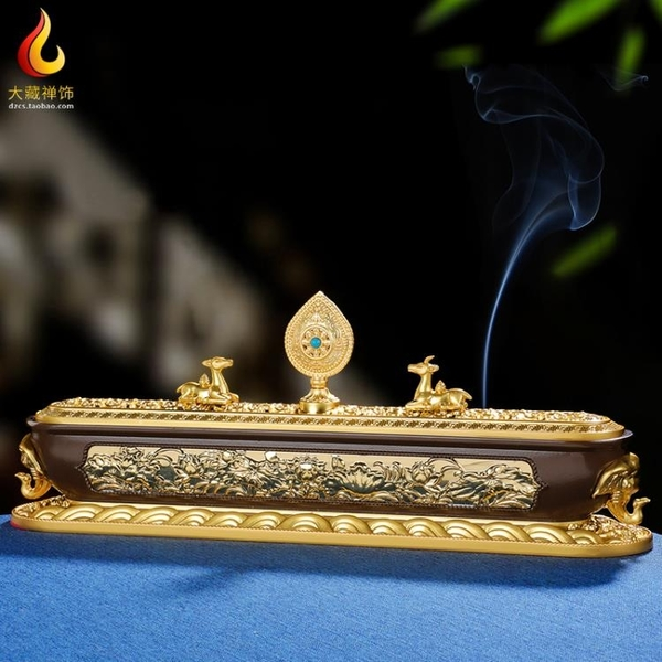 香盒 西藏式密宗臥香爐室內家用禮佛供奉擺件純銅色大象蓮花臥式線香盒 米家