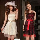 中大尺碼~甜美時尚魅力蕾絲末胸短袖洋裝(送隱形帶)(XL~3XL)