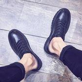 靴子 男鞋秋季潮鞋英倫黑色休閒皮鞋男韓版潮流厚底圓頭皮靴馬丁鞋子 城市科技