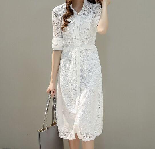 時尚鏤空蕾絲長裙連衣裙(三碼可選)
