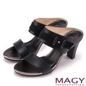 MAGY 時尚穿搭必備款 全真皮雙材質高跟涼拖鞋-黑色