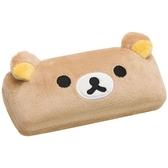 〔小禮堂〕懶懶熊 拉拉熊 造型耳朵絨毛硬殼眼鏡盒《棕》收納盒 4974413-67235