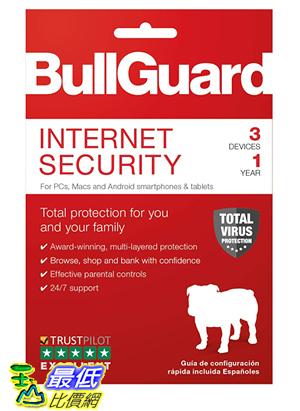 [8美國直購] 暢銷軟體 BullGuard Internet Security 2019, 3 User [Key Code] 2019