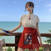 中國風中式改良漢服短袖盤扣立領雪紡衫上衣 半身裙【聚可愛】