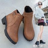 粗跟短靴女2020新款冬馬丁靴英倫大碼35-43女靴秋冬高跟百搭皮鞋『潮流世家』