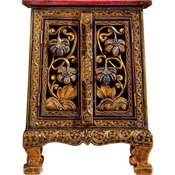 異麗家居東南亞風格鏤空描金做舊貼彩玻床頭柜泰式裝