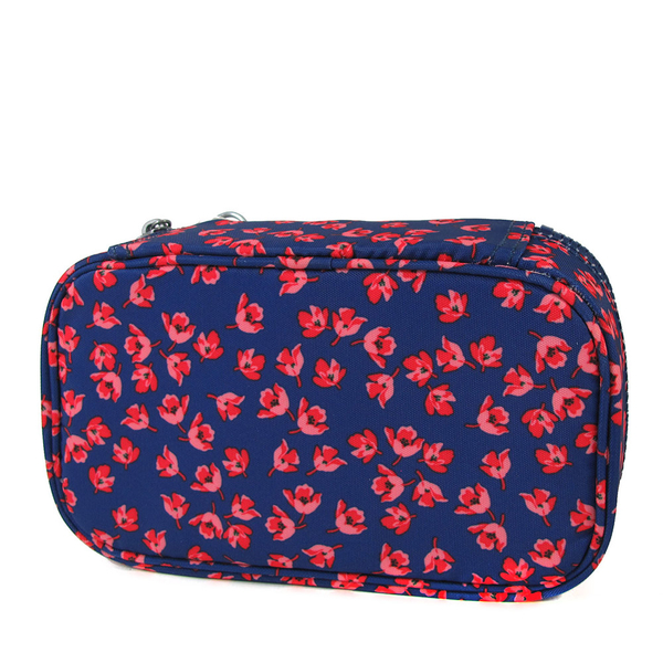 Kipling 50 PENS 深藍粉花文具收納盒/化妝包-AC82366CP