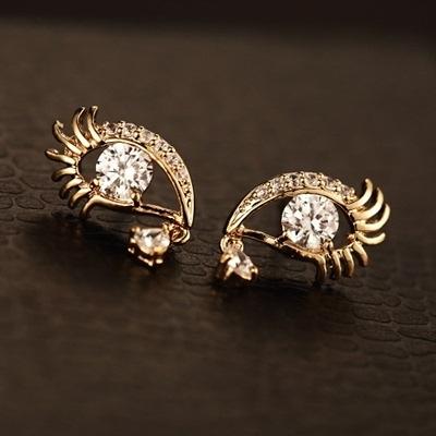 耳環 玫瑰金純銀鑲鑽-靈魂之窗生日情人節禮物女飾品2色73ca203【時尚巴黎】