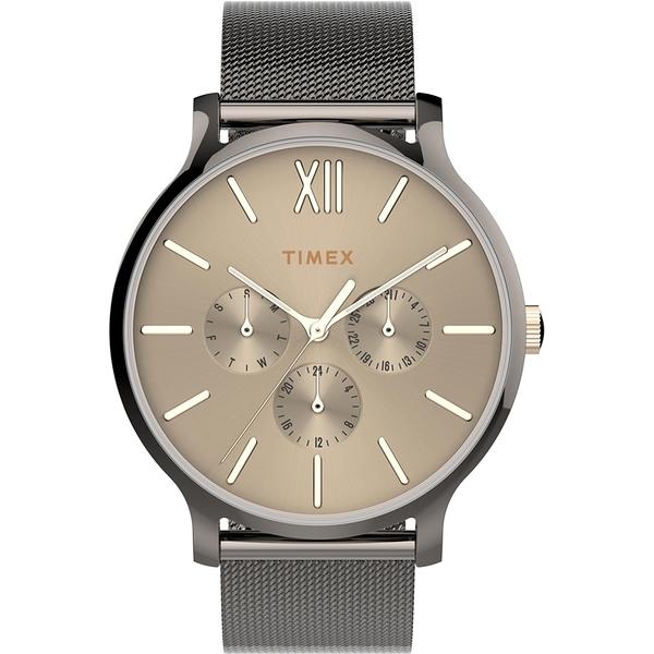 【TIMEX】天美時 復刻系列 三眼耀眼金屬光手錶 ( 槍色 TXTW2T74700)
