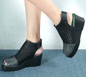 *流行經典.MODO.柔韌透氣.魚口裸靴(全牛皮)-THE ONE-B50907  黑