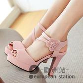 魚口涼鞋/夏季高跟粉色女甜美百搭粗跟花朵工作鞋防水台女鞋「歐洲站」