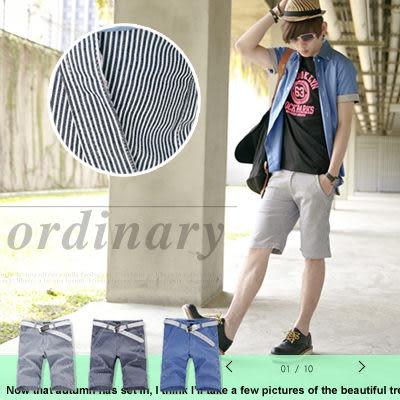 ∥柒零年代∥Spring Look【N7831J】韓版都會質感型男海洋休閒風直條紋合身版短褲(JK2000)