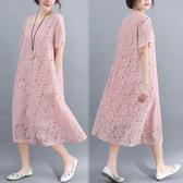 洋裝 連身裙 很仙的洋裝大碼女裝胖公主夏裝新款文藝減齡胖mm顯瘦蕾絲中長裙